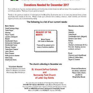 December Donation Needed List 2017